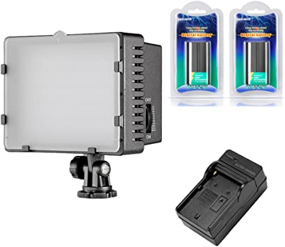 7.4V 2600mAh Li-ion Battery Pack Replacement for Sony NP-F550//570//530 1 Neewer CN-160 Dimmable Panel Digital Camera Video Light Kit,Include: 160 LED CN-160 Video Light+ 1 Battery Charger+ 2