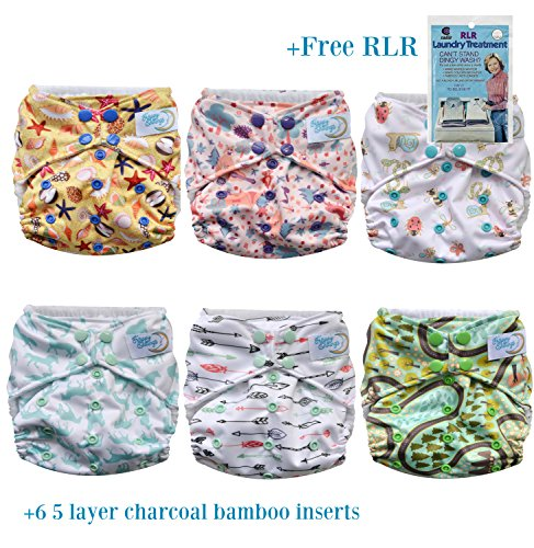 HappyEndings Pocket Cloth Diapers, 6 pcs + 6 Charcoal Bamboo Inserts + RLR, One Size (Nursery Bundle)