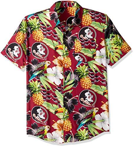 (NCAA Florida State Seminoles Foco Floral Button Up Shirt, Team Color, XL)
