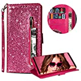 Luxury Glitter Bling Zipper Wallet Phone Case for Samsung Galaxy A6 Plus 2018, MOIKY Bookstyle PU Leather Flip Folio Magnetic Purse Pockets Credit Card Holder Wrist Strap Case Cover for Samsung Galaxy A6 Plus 2018 - Rose Red