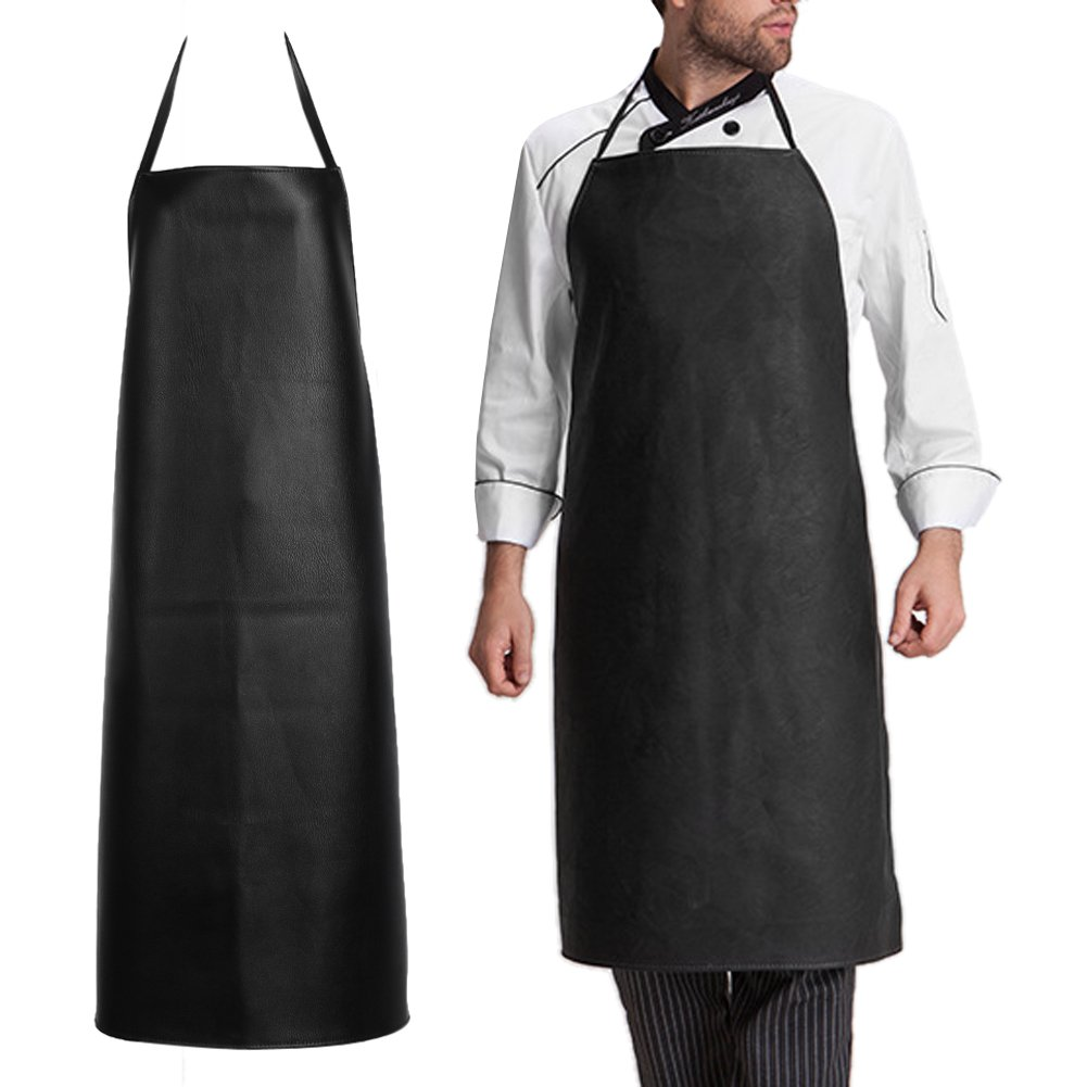Mens Waterproof Leather Working Aprons, Oil-Proof Restaurant Cooking Kitchen Chef Apron for Womens - Black Dishwashing Bib PVC Aprons (Apron) Mo-gu C17013