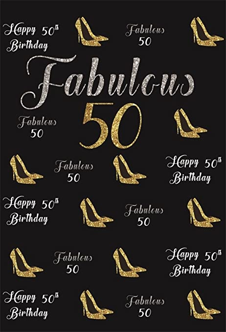 Aofoto 7x10ft Happy 50th Birthday Background Fabulous 50 Years Old Party Decoration Photography Backdrop Abstract High Heeled Shoes Banner Elegant