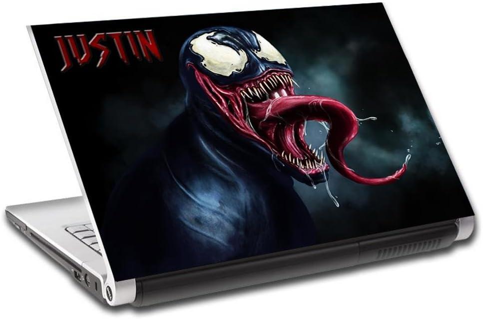 "Venom Spider Man Villain Personalized LAPTOP Skin Decal Vinyl Sticker NAME L640, 17"""