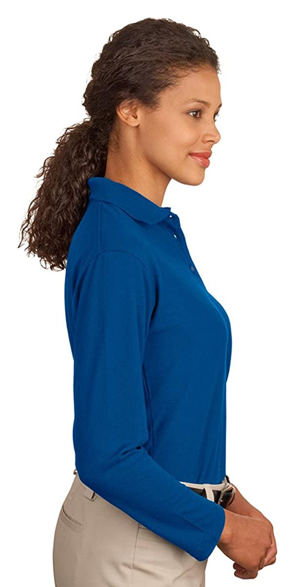 Port Authority Ladies Long Sleeve Silk Touch Polo-White