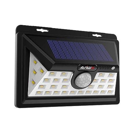 Asiwo - Luces solares con sensor de movimiento para exteriores, resistentes al agua, con