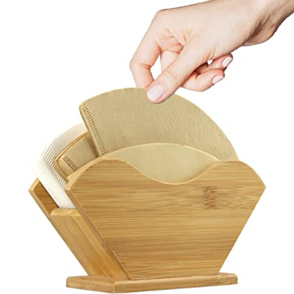 Unibene Bamboo Coffee Filter Holder Renewable Container Dispenser Rack Shelf For Square Cone Shaped