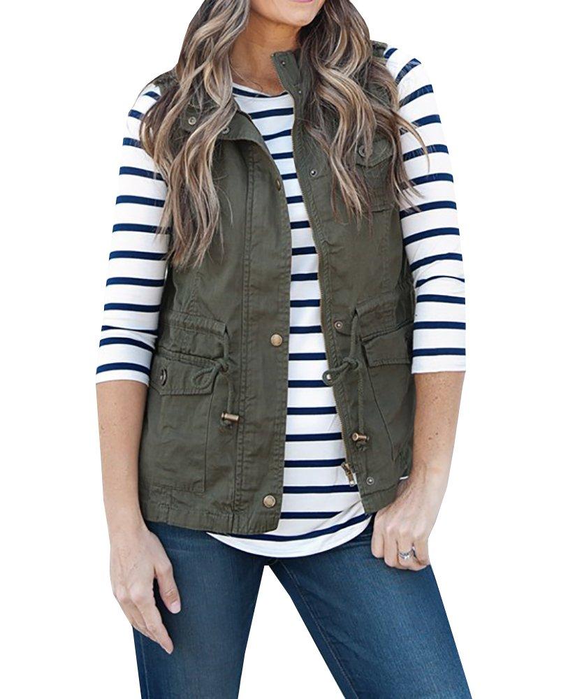FISACE Women's Lightweight Sleeveless Stretchy Drawstring Jacket Vest with Zipper