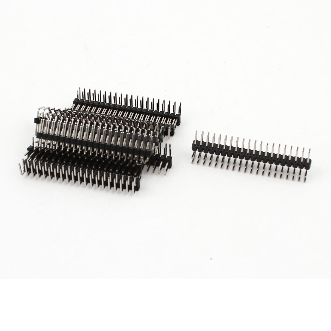 Sourcingmap 10PCS 2.54mm 2 x 20-pin Male Double Row Right Angle Pin Header Strip a15010500ux0918