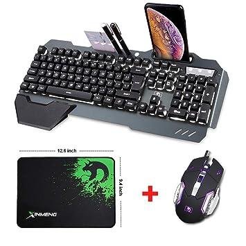 LexonElec@® Teclado Teclado Teclado Ratón Combo Gamer con Cable Naranja Amarillo LED Retroiluminado Metal