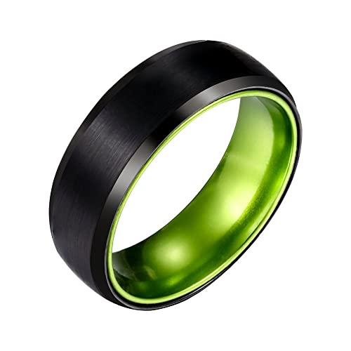 7313c0a02634d POYA 8mm Black Tungsten Carbide Ring Matte Finish Beveled Wedding Band  Green Interior