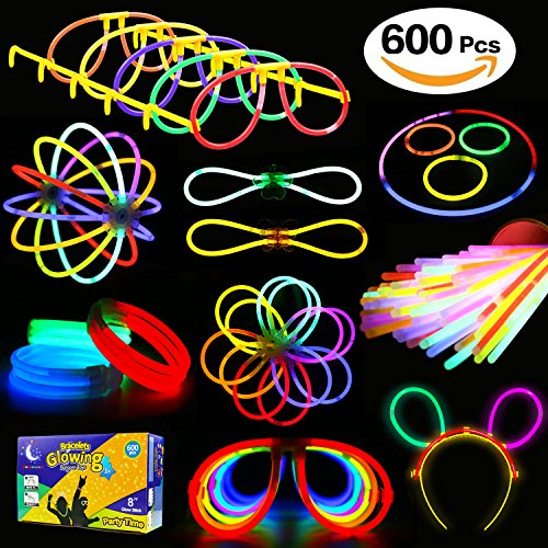 3 Red 10 Bracelet - Glowstick, (600 Pcs Total) 250 Glow Sticks Bulk 7 Colour and Connectors for Bracelets Necklaces Balls Eyeglasses and More, Funcorn Toys Light up in The Dark Stick for Kid Party Birthday Halloween Gift