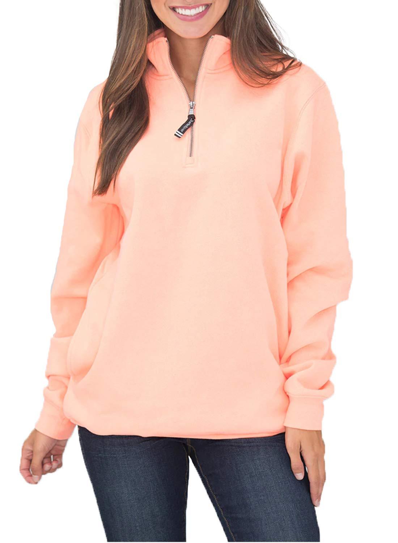 Sidefeel Women Solid High Neck Zipper Neck Long Sleeve Pullover Sweatshirt Tops Large White
