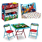 2-Piece Mickey Mouse Sheet Set, 2-Piece Chair, Activity Table and Multi Bin Toy Organizer, Disney Playground Pals Bundle, Toddler Bedding and Furniture Set, Fun and Colorful, Toddler Room Decorations