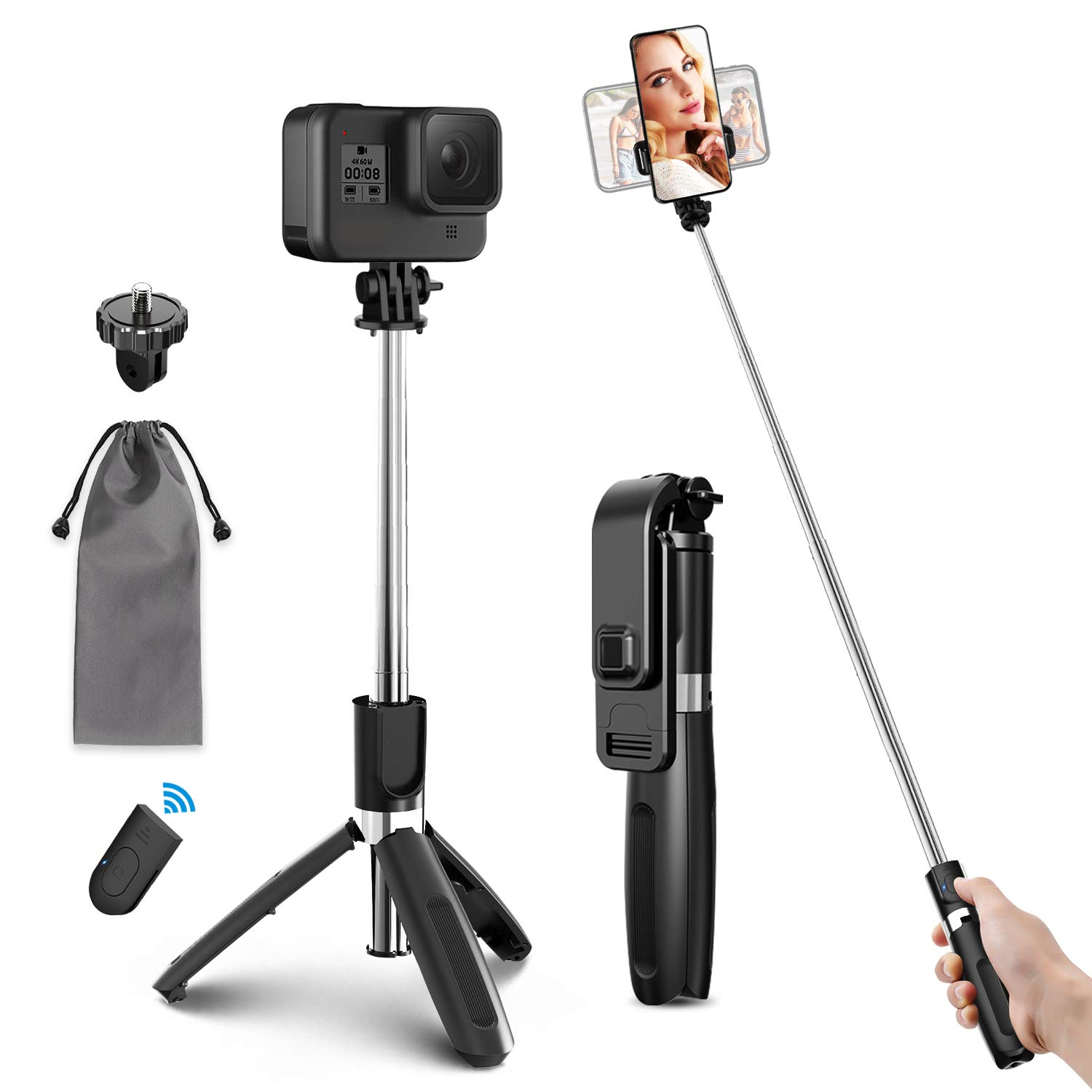 ELEGIANT Selfie Stick Tripod 39.4 Inch Extendable Selfie Stick Tripod Stand with