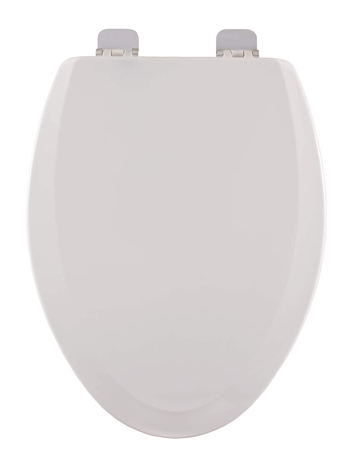 Centoco 900bn 001 Elongated Wooden Toilet Seat Heavy Duty Molded Wood With Centocore Technology White With Brushed Nickel Hinge Clothing