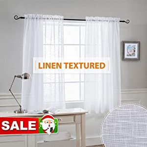 RYB HOME Semi-Sheer Linen Look Curtains Set - Rod Pocket Semi Transparent Privacy Sunlight Glare Filtering Drapes for Living Room/Sliding Glass Door, Width 52 x Length 63 in Each, White, 2 Panels
