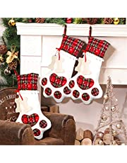 Aparty4u Pet Dog Christmas Stockings with Paw, Plaid Hanging Christmas Dog Stocking for Christmas Decorations, 18 x 11inch
