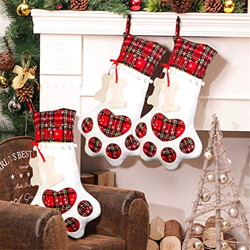 AerWo Pet Dog Christmas Stocking Hanging Christmas Stocking with Large Paw for Christmas Decorations, 18 x 11 Inches]()