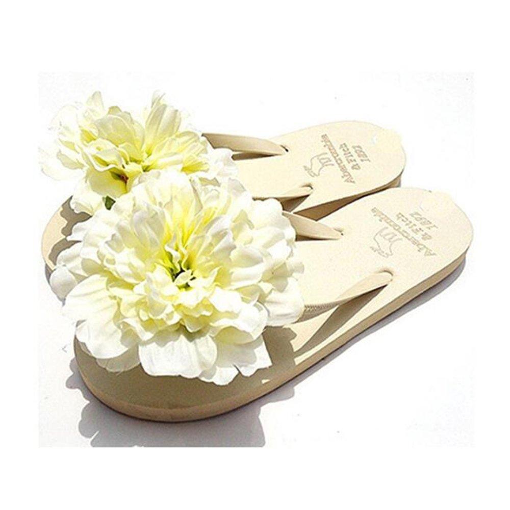 HYL World Women's Beach Flip Flops Colorful Flower Slipper Summer Flat Sandals,White,L(7-7.5)
