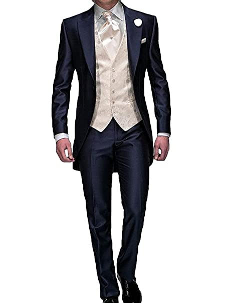 Fenghuavip Navy Blue Mens Tuxedo Suits For Wedding 3 Pieces