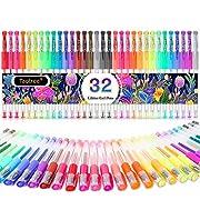 #LightningDeal Glitter Gel Pens, 32-Color Neon Glitter Pens Fine Tip Art Markers Set 40% More Ink Colored Gel Pens for Adult Coloring Book, Drawing, Doodling, Scrapbook, Bullet Journal, Sparkle Gel Pen Gift for Kids