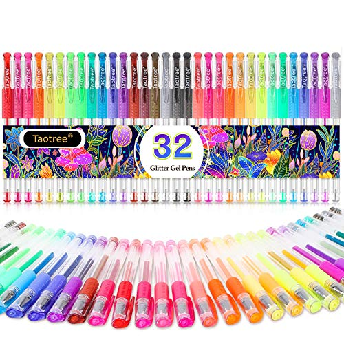Glitter Gel Pens, 32-Color Neon Glitter Pens Fine Tip Art Markers Set 40% More Ink Colored Gel Pens for Adult Coloring Book, Drawing, Doodling, Scrapbook, Bullet Journal, Sparkle Gel Pen Gift for Kids