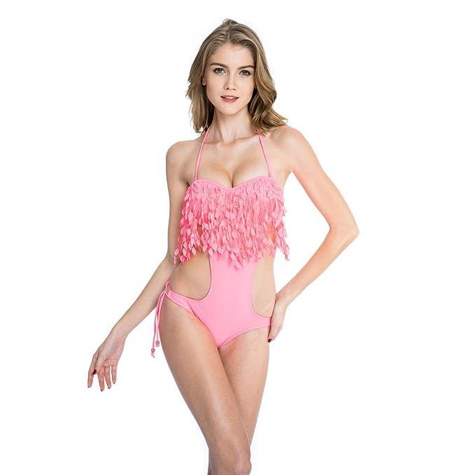 55421f9dc074 XSY Women's Push-up Monokini One-Piece Swimsuit Leaf Fringe Bathing Suit  Pink S