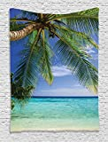 Ambesonne Green Tapestry Ocean Decor by, Tropical Paradise at Maldives with Palms and Sky Picture, Bedroom Living Girls Boys Room Dorm Accessories Wall Hanging Tapestry, Turquoies Blue Green Ivory