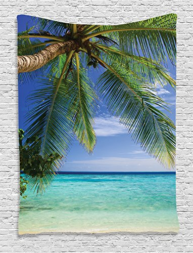 Ambesonne Green Tapestry Ocean Decor by, Tropical Paradise at Maldives with Palms and Sky Picture, Bedroom Living Girls Boys Room Dorm Accessories Wall Hanging Tapestry, Turquoies Blue Green Ivory by Ambesonne