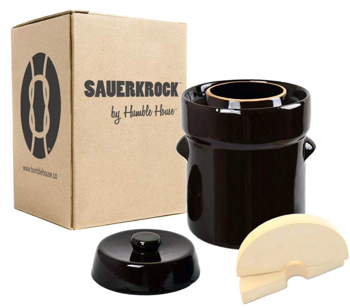 """Humble House Fermentation Crock German-Style SAUERKROCK""""City"""" 2 Liter (0.5 Gallon) Water Sealed Jar, Lid and Weights in Traditional Brown - For Fermenting Sauerkaut, Kimchi and Pickles!"""