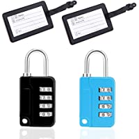 LGNTXDC 4pcs Luggage Locks Security Accessories Kit, 2 4-Suitcases-Lock-Code Padlocks with 2 Luggage Tags for Travel…