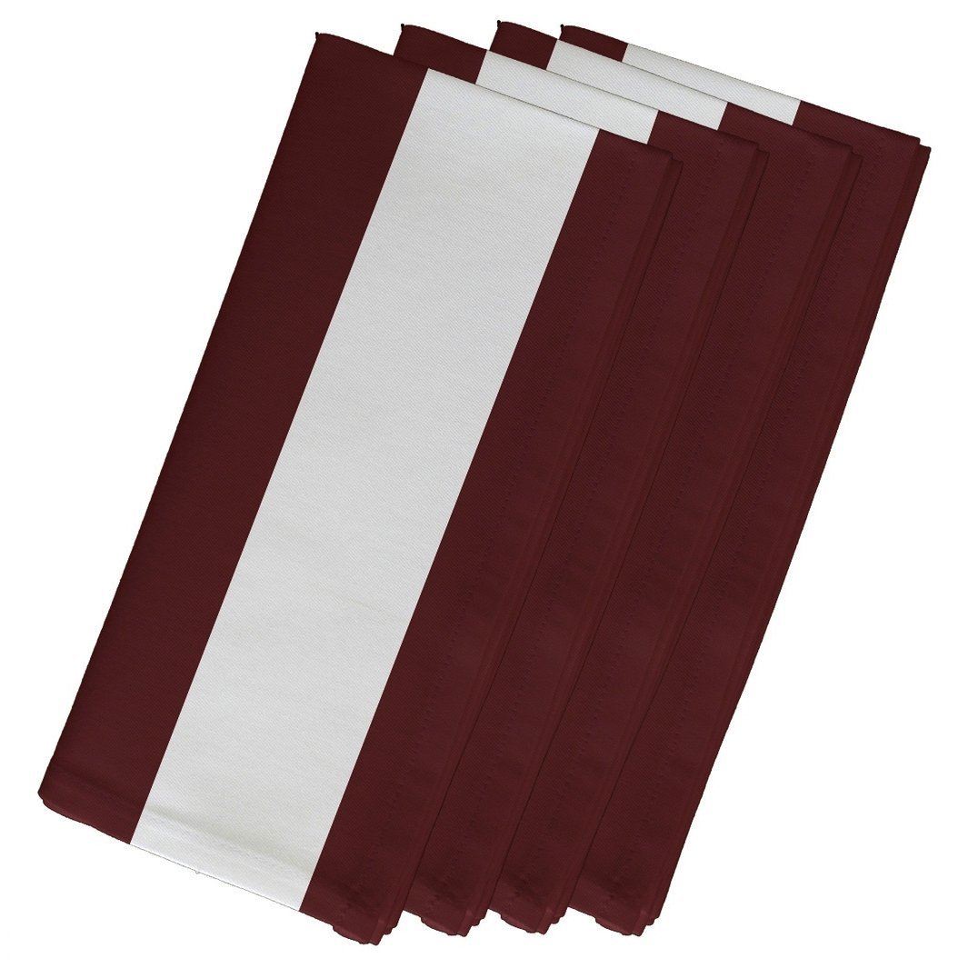 4 Piece Brown Napkin (19''), Contemporary Style, Cotton Material, Stripe Pattern, Decorative Table Top Napkin Type, Vertical Large Stripes, Suitable For Everyday, Special Occasions, Dark Brown by Patriot