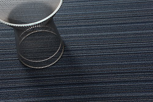 Skinny Stripe Indoor/Outdoor Shag Vinyl Rug, Blue by Chilewich (Big Mat 36'' x 60'', Blue) by Chilewich