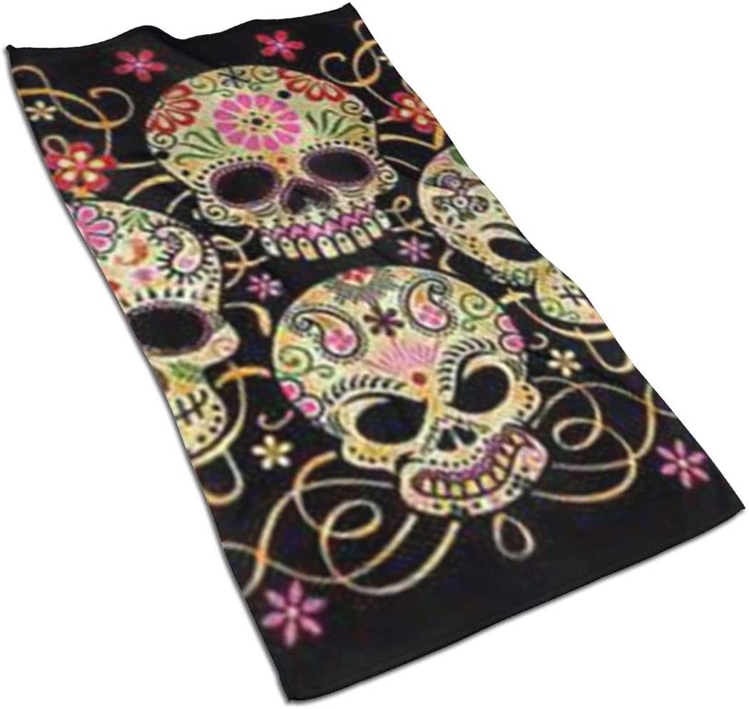 antcreptson Day of The Dead Sugar Skull Microfiber Bath Towel (15.727.5 Inch), Soft, Super Absorbent and Fast Drying, No Fading Multipurpose Use for Sports, Travel, Fitness, Yoga