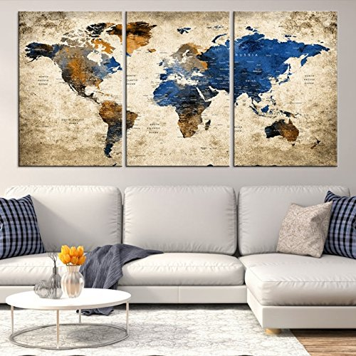 Amazon.com: Navy Blue Large World Map Canvas Print for Wall Decor ...