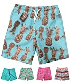 INGEAR Little Boys Quick Dry Beach Board Shorts Swim Trunk Swimsuit Beach Shorts with Mesh Lining (Aqua Pineapples, 8/10)