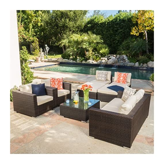 """Cortez Sea 9 Piece Outdoor Wicker Furniture Sectional Sofa Set - Includes: Two (2) Club Chairs, Two (2) Armless Chairs, One (1) Left Arm Chair, One (1) Right Arm Chair, Two (2) Ottomans, and One (1) Table Club Chair Dimensions: 33.25""""D x 33.25""""W x 24.40"""" H; Seat Width: 28.75""""; Seat Depth: 26.00""""; Seat Height: 12.10""""; Armless Chair Dimensions: 33.25""""D x 22.50""""W x 24.40""""H; Seat Width: 33.25""""; Seat Depth: 26.00""""; Seat Height: 12.10""""; Left and Right Arm Chair Dimensions: 33.25""""D x 33.25""""W x 24.40""""H; Seat Width: 28.75""""; Seat Depth: 26.00""""; Seat Height: 12.10""""; Ottoman Dimensions: 33.46""""D x 30.70""""W x 15.12""""H; Table Dimensions: 33.25""""D x 30.50""""W x 13.10""""H This outdoor wicker sectional sofa set offers soft water-resistant cushions that are both classy and comfortable. Whether you're entertaining guests or just enjoying a cozy weekend with your family, you now have ample space to sit and relax together outside. The two matching ottomans and glass top table provide all the convenience of the indoors while enjoying your outdoor living space - patio-furniture, patio, conversation-sets - 61UMfNwOqjL. SS570  -"""
