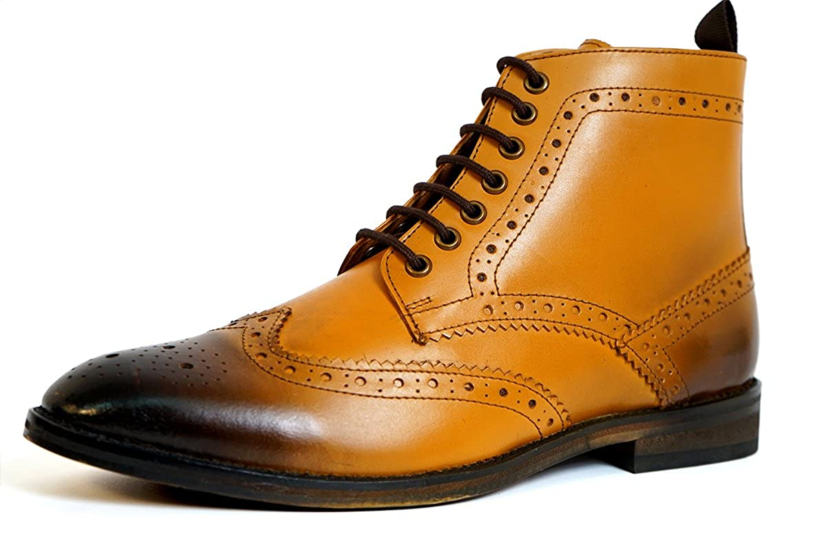 Aspele Mens Ankle Classic Leather Lace-up Brogues Ankle Mens Boots, Tan Burnish, Black and Brown … Hautfarben 6835d4