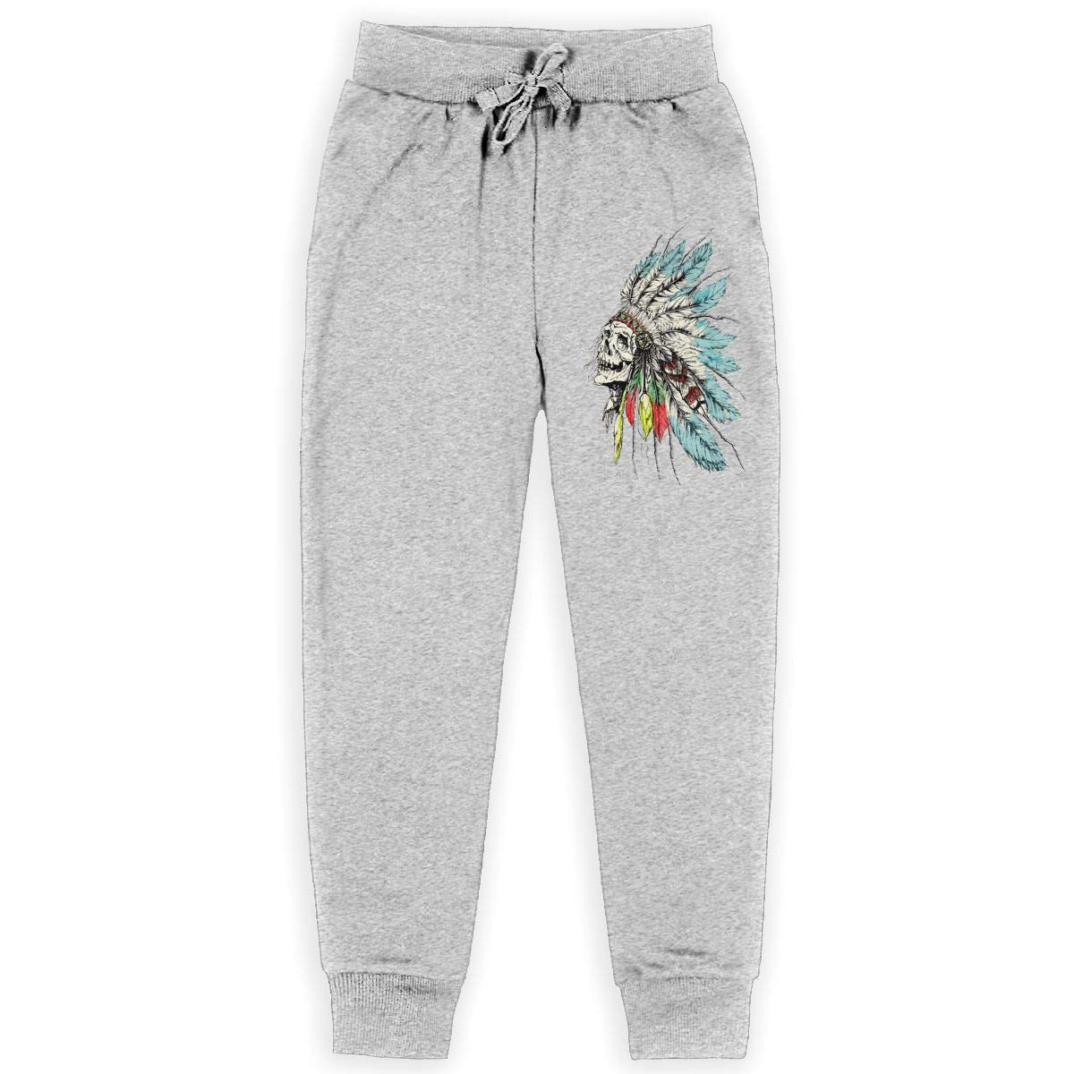 Boys Cotton Sweatpants Native American Skull in National Hat Adjustable Waist Pants with Pocket