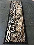 Animal Skin Print Runner Rug Leopard Tiger Black Skinz Design 70 (2 Feet X 7 Feet)