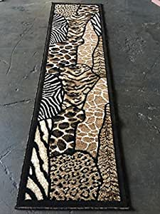 Amazon Com Animal Skin Print Runner Rug Leopard Tiger