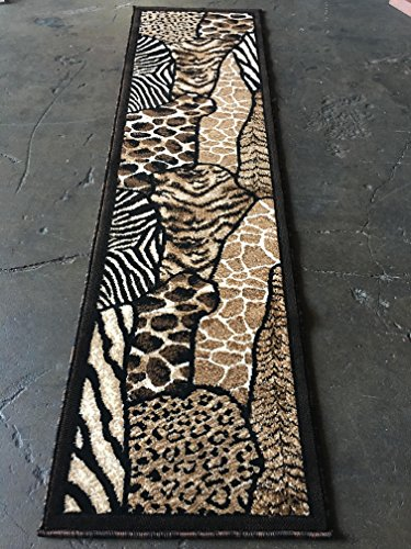 Tiger Skin Rug - Animal Skin Print Runner Rug Leopard Tiger Black Skinz Design 70 (2 Feet X 7 Feet)