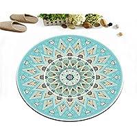 LB Round Area Rug Mandala Medallion Pattern Print, Indian Lotus Flower Zen Meditation Decor Rug Mat Carpet for Bedroom Living Room, Unique Design Rug, 2 foot