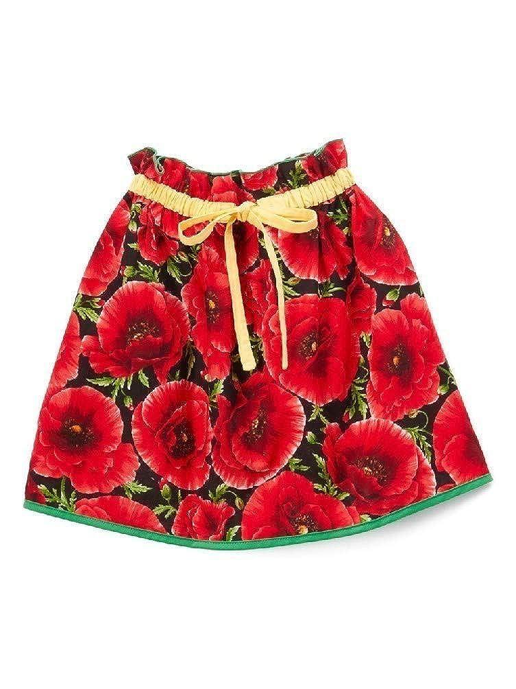 Little Miss Fashion Big Girls Red Floral Adjustable Drawstring Waist Skirt 7-12
