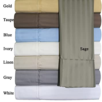 Olympic Queen Stripes Sage 100% Cotton Blend Wrinkle Free Sheets 650 Thread