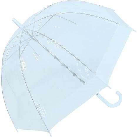 Paraguas transparente y mango de color blanco