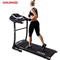 Sparnod Fitness STH-1200 (3 HP Peak) Automatic Treadmill (Free Installation Service) - Foldable Motorized Treadmill for Home Use