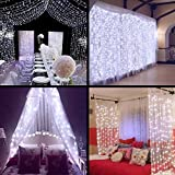 MZD8391 Curtain String Lights, 9.8ft×9.8ft 304 led 8 Modes 24V Low Voltage Window Icicle Fairy Lights for Home, Garden, Wedding, Party, Photo Booth (White)