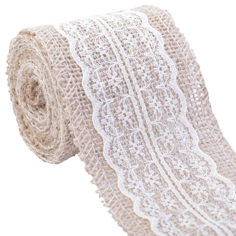bodas 2 m de largo x 6 cm de ancho beige Rollo de cinta de arpillera natural con encaje para manualidades fiestas de encaje decoraci/ón del hogar Monbedos