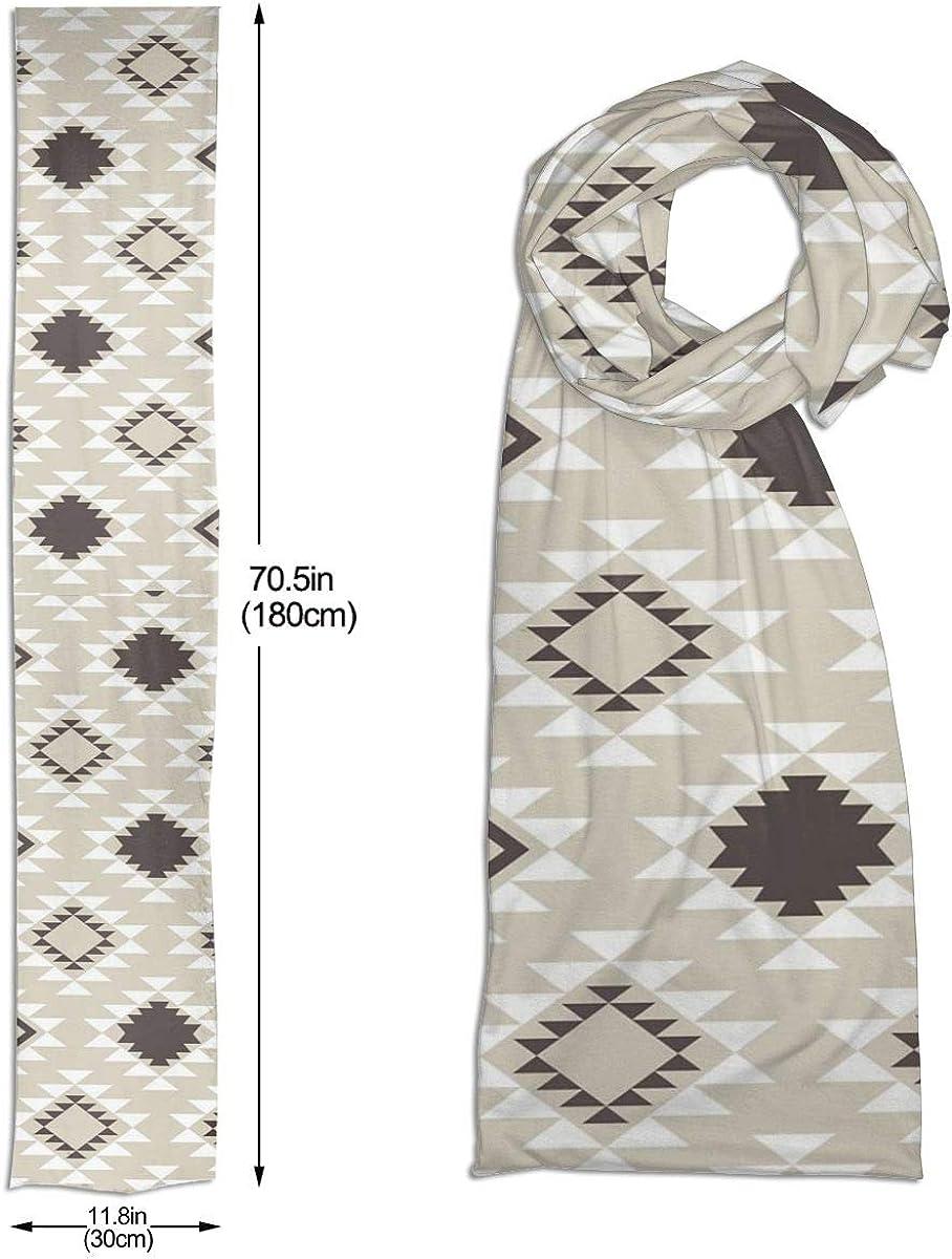 Tan Southwestern Aztec Scarfs Imported Lightweight Neckwear Blanket Wrap Winter Shawl